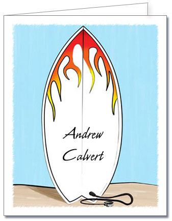 Note Cards: Flame Surfboard