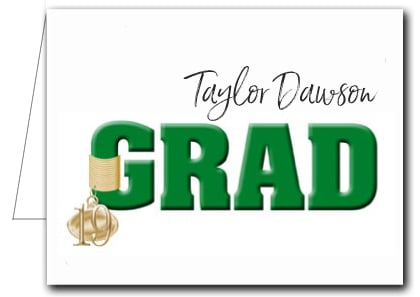 Note Cards: Green Grad & Charm