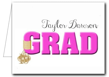Note Cards: Hot Pink Grad & Charm