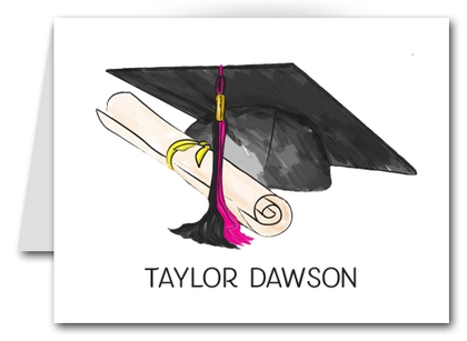 Note Cards: Black-Pink Graduation