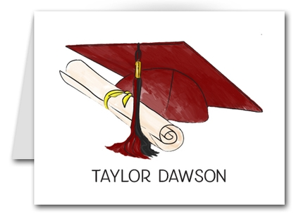 Note Cards: Burgundy-Black Graduation