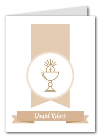 Beige Chalice Banner Thank You Notes