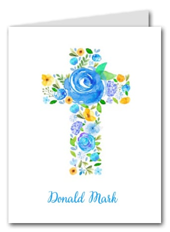 Blue Flower Cross Thank You Notes