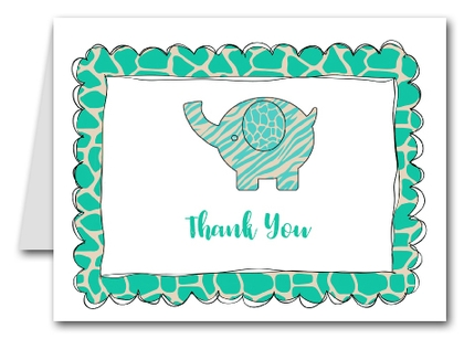 Note Cards: Exotic Teal Elephant