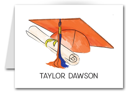 Note Cards: Orange-Blue Graduation