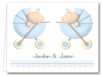 Note Cards: Boy Twins in Stoller