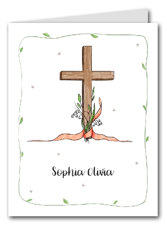 Note Cards: Cross & Lily - Peach