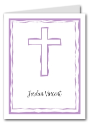 Abstract Cross Lilac Thank You Notes