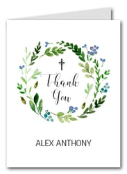Blue Bud Wreath Thank You Notes