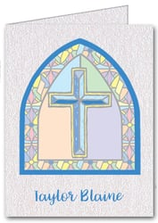Note Cards: Stained Glass Cross Blue