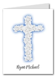 Note Cards: Rose Cross on Blue