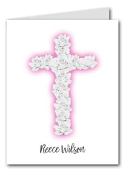 Note Cards: Rose Cross on Pink
