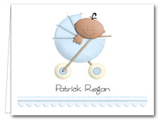Note Cards: Ethnic Baby Boy in Stoller