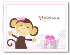 Note Cards: Monkey & Gift Pink