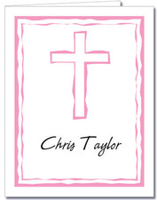 Abstract Cross Pink Thank You Notes