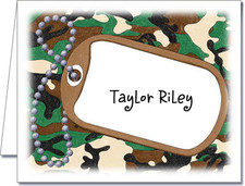 Note Cards: Dog Tags on Jungle Camo