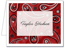 Note Cards: Paisley Dark Red