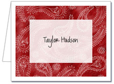Note Cards: Paisley Light Red