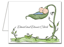 Note Cards: Peapod Twin Boys