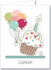 Note Cards: Cupcake & Balloons Blue