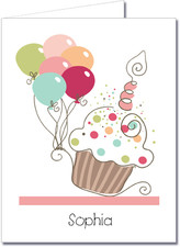 Note Cards: Cupcake & Balloons Pink