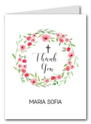 Pink Blooms Wreath Thank You Notes