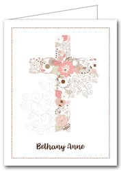 Note Cards: Pink Cross of Flowers