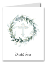 Sage Wreath Blue Cross Thank You Notes
