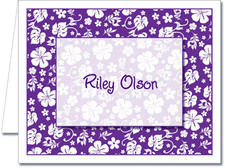 Note Cards: Purple Hawaiian Floral