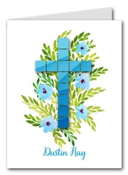 Blue Tile Cross Thank You Notes