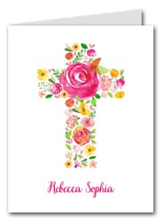 Pink Flower Cross Thank You Notes