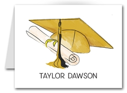 Note Cards: Gold-Black Graduation