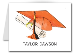 Note Cards: Orange-Black Graduation