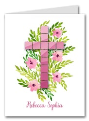 Pink Tile Cross Thank You Notes