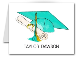 Note Cards: Turquoise-Gold Graduation