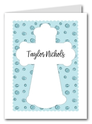 Note Cards: Cross on Blue Curls