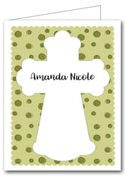 Note Cards: Cross on Green Curls