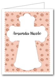 Note Cards: Cross on Peach Curls