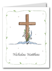 Note Cards: Cross & Lily - Blue