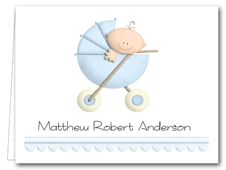 Baby Boy in Stroller Thank You Notes, Personalized Note Cards