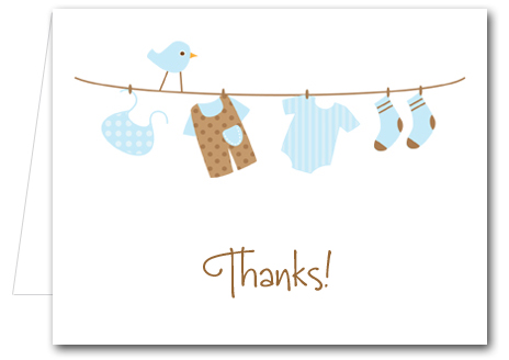 note cards blue baby laundry - Thank You Note Cards