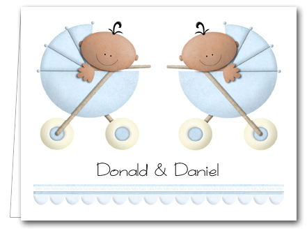 ethnic twin baby boys in stollers thank you notes personalized note