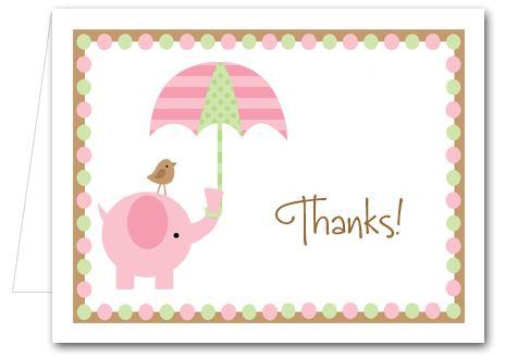 note cards pink elephant shower - Thank You Note Cards