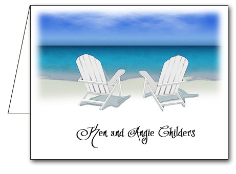 Chairs On The Beach Note Cards Personalized Thank You Notes