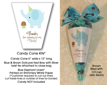 Blue Elephant & Cupcake Candy Cone Kit