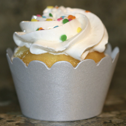 Shimmery Silver Cupcake Wrappers