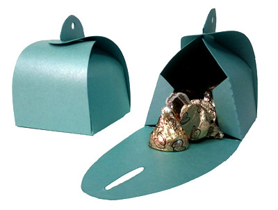 Shimmery Turquoise Favor Box Large