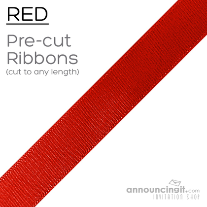 Pre-Cut 7/8 Inch Red Ribbons