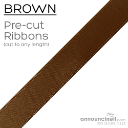 Pre-Cut 1/4 Inch Brown Ribbon