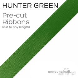 Pre-Cut 1/4 Inch Hunter Green Ribbon